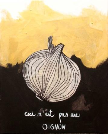 A MAGRITTE | L'OIGNON | 2015 | MIXED TECHNIQUE ON CANVAS| 55X45 cm